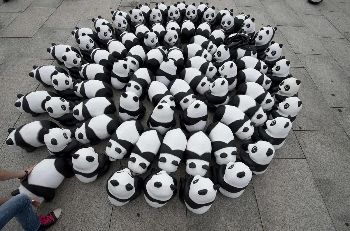 Fotók: pandák lepték el a berlini főpályaudvart