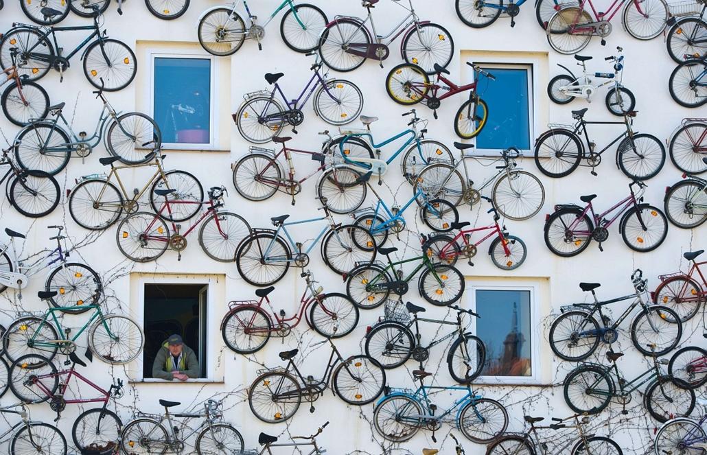 afp. Pet Horstmann, Németország, Altlandsberg, bicikli, kerékpár 2014.03.11. Pet Horstmann, head of the Fahrradhof bike shop in Altlandsberg, eastern Germany, looks out of his house decorated with 210 old bikes, on March 11, 2014. Inside, the shop offers
