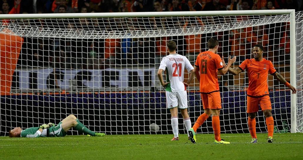 Holland-magyar: a harmadik holland gól után