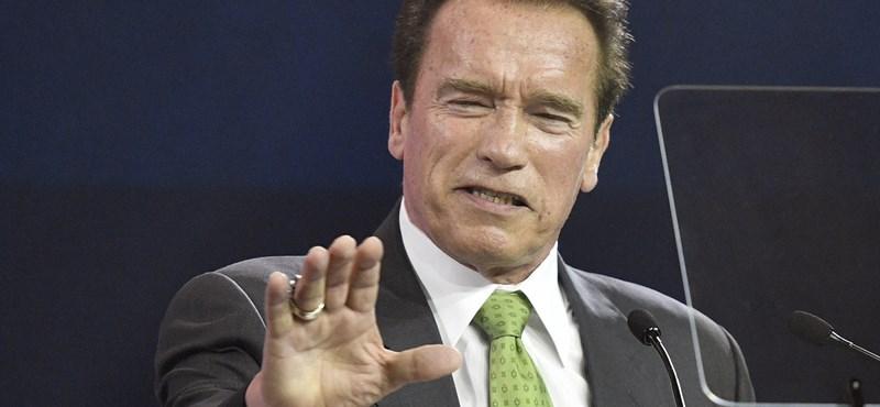 Schwarzenegger bicikliről gyönyörködött a Kossuth térben – videó