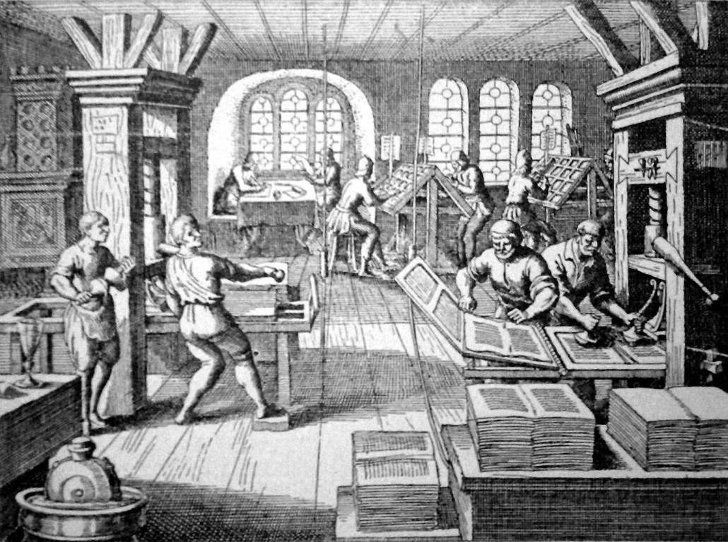 Nyomda a 16. században - könyv világnapja nagyítás