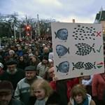 Százak tüntettek a Telekinél az igazgató mellett