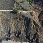Drónvideón látni az USA egyik legszebb útvonalának szakaszát, ami az óceánba omlott
