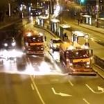 Így verették a főkefések a mosó célgépekkel a Nagykörúton – videó