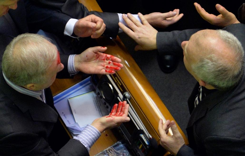 afp. Verekedés az ukrán parlamentben 2014.01.16. Kijev