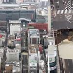 Fotók: Hatalmas lyuk okozott fennakadást egy forgalmas japán úton