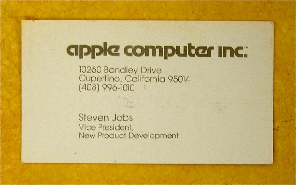 Steve Jobs névjegykártyája, Apple Computer, 1979
