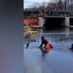 A jéghideg vízből kellett kimenteni a korcsolyázókat Amszterdamban – videó