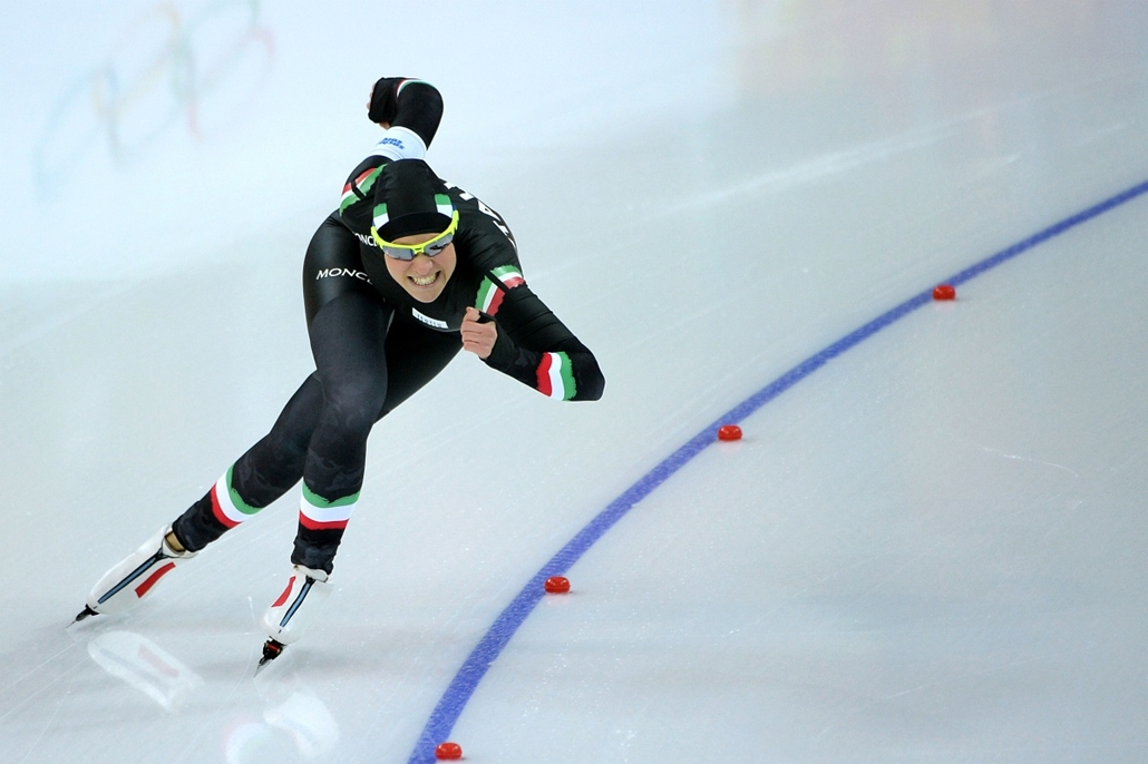 afp. Szocsi 2014 nagyítás - Italy's Yvonne Daldossi competes during the Women's Speed Skating 500 m at the Adler Arena during the 2014 Sochi Winter Olympics on February 11, 2014.