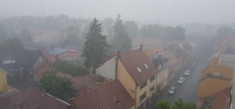 Leszakadt az ég Egerben, hömpölygött a víz belvárosban – videó