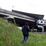 Újabb fotók jöttek az M3-as hídjáról lógó kamionról