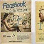 Retro Twitter-, YouTube- és Facebook-plakátok