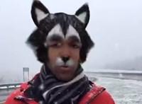 Élőben tudósított a havazásról a riporter, de véletlenül bekapcsolta a szűrőket