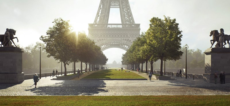 En la Torre Eiffel, una bailarina de cuerda, de 70 metros de altura, caminó sobre el Sena
