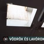 Vödrökbe fogják fel a tetőn becsurgó vizet az egyik pécsi iskolában