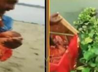 Dobozba tett baba úszott a Gangeszben, egy hajós mentette ki