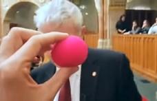 Nagyon nem tetszett Polt Péternek, hogy bohócorrot vitt neki a Párbeszéd politikusa – videó