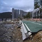 Toronyházat építő óriásdarut is ledöntött a tájfun Hongkongban - videó