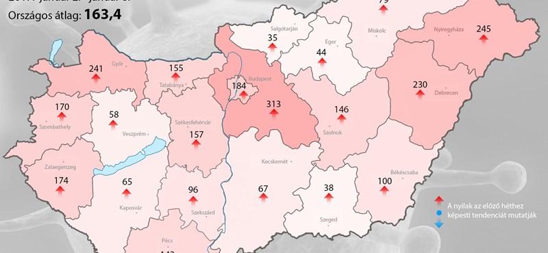 Melyik megyében támad az influenza? Térképre vitték az adatokat