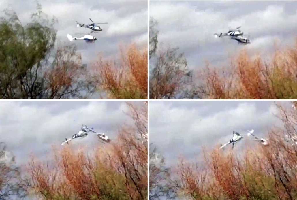 afp. Argentina helikopter baleset - 2015.03.09. Photo composition showing two helicopters colliding mid-air near Villa Castelli, in the Argentine province of La Rioja on March 09, 2015. The two helicopters collided in northern Argentina, killing 10 people