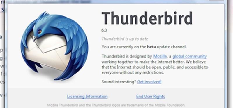 Letölthető a Thunderbird 6 első bétája