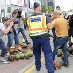 Fotók: rothadt dinnyét öntöttek a budaörsi Tesco elé a gazdák, egy embert elvittek a rendőrök
