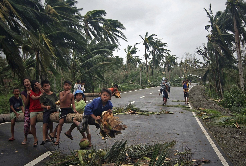 afp. hét képei - San Julian, Fülöp-szigetek, 2014.12.08. Children play on top of a fallen coconut tree blocking a highway in San Julian town, Eastern samar province central Philippines on December 8, 2014 in the aftermath of typhoon Hagupit. Millions of p