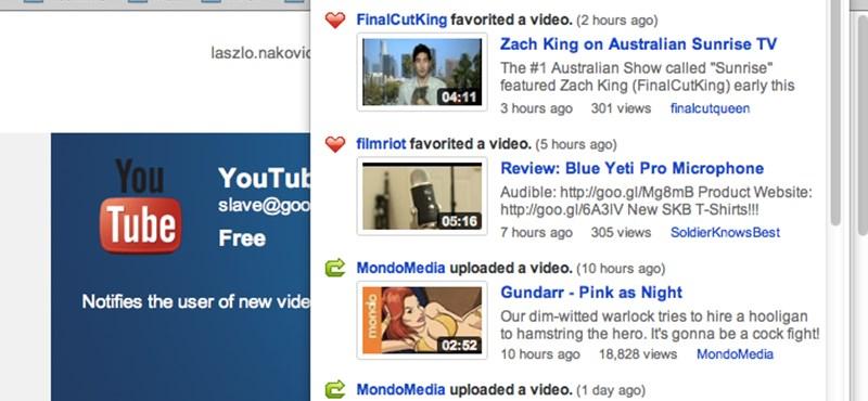 Kedvenc Youtube csatornáink friss videói, egy kattintásra