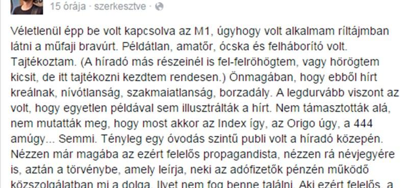 A Heti Válasz-os Stumpf is kiakadt az M1 híradóján