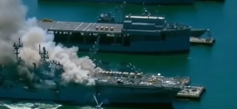 Kigyulladt egy hadihajó a San Diegó-i flottatámaszponton, többen megsérültek