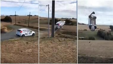 Hatalmasat repült egy Ford Fiesta a hétvégi francia ralin - videó