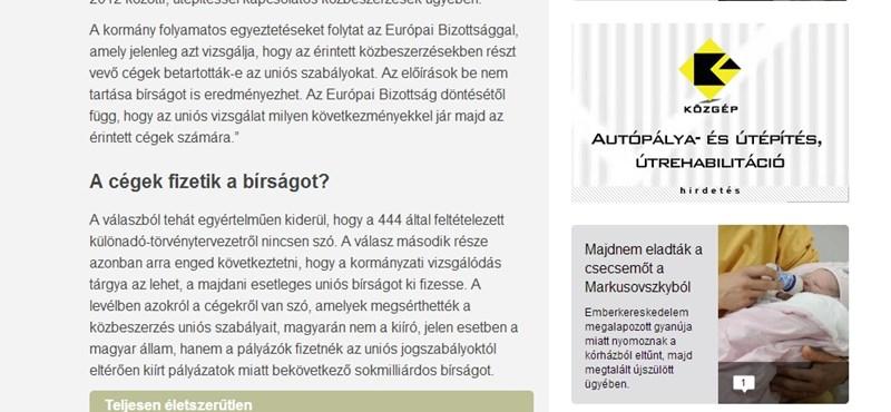 Fotó: Közgép-hirdetés virít az MNO-n a Simicska-cégek különadóztatása ellen érvelő cikk mellett