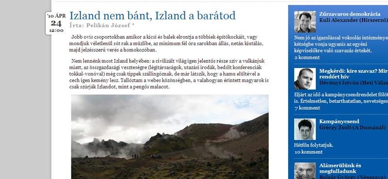 A hamufelhő mögötti Izland