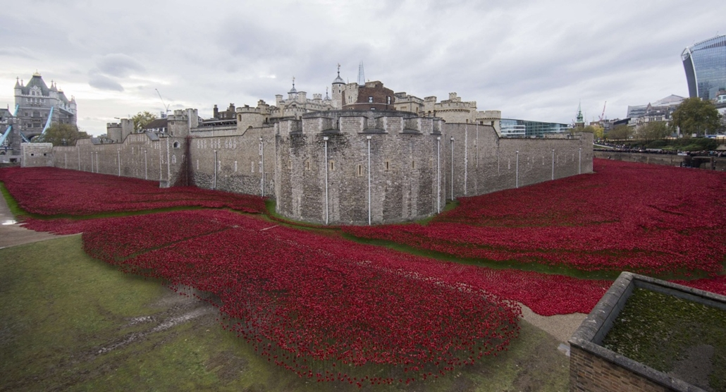 "afp. hét képei - London, Egyesült Királyság, 2014.11.11. A general view shows the ""Blood Swept Lands and Seas of Red"" installation of ceramic poppies by artist Paul Cummins and theatre stage designer Tom Piper, marking the centenary of the outbreak of the"