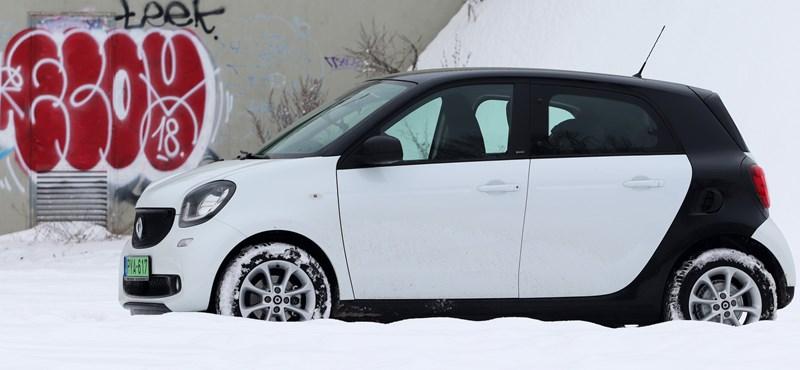 Nagy törpe: téli teszten a legolcsóbb négyszemélyes villanyautó, a Smart EQ ForFour