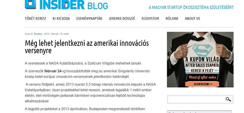 Innovációs verseny: a fődíj 2,5 hónap a NASA kutatóbázisán