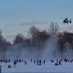 Helikopterrel kergette el az embereket egy befagyott berlini tó jegéről a rendőrség
