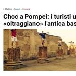 Az Országgyűlési Őrség egyik tagja ugrált a pompeji romokon