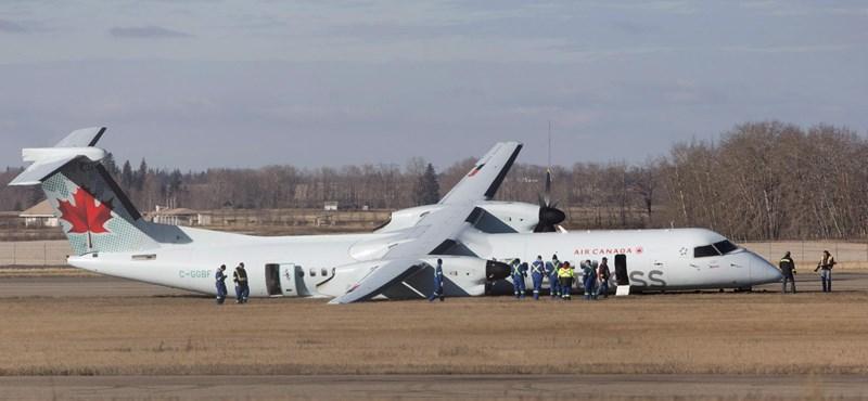 Felrobbant egy kanadai gép kereke, kényszerleszállást hajtott végre - fotó