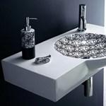 Elegáns mosdókagyló - fehér alapon, fekete erezettel