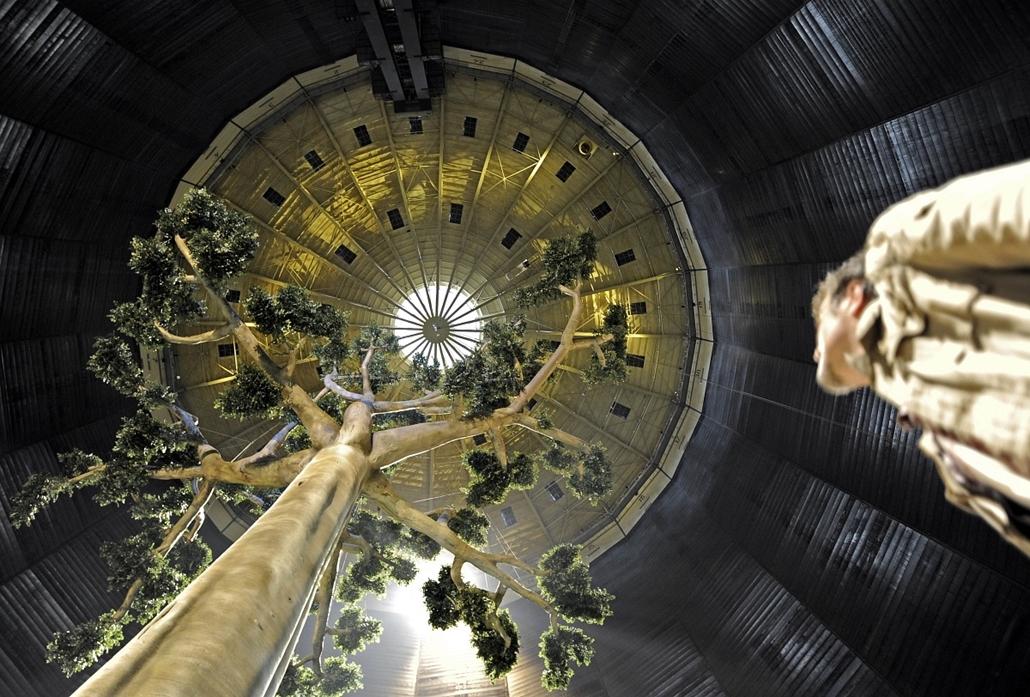 Wolfgang Volz ''Esőerdő-fa'' alkotásának bemutatója Németországban az UNESCO kiállításán.