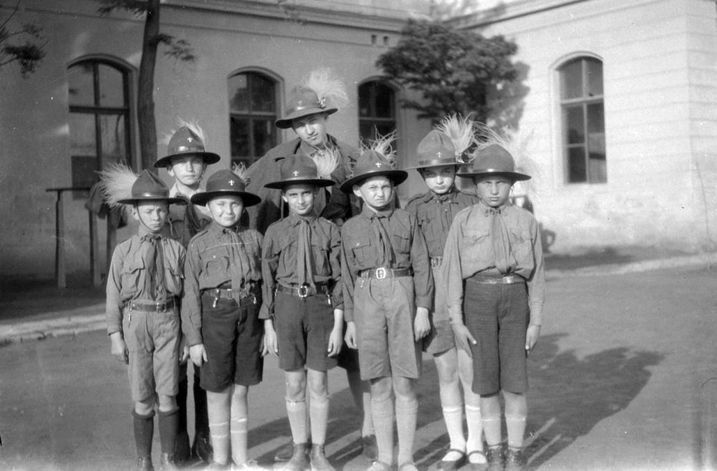 1928 körül - a nyíregyházi Kossuth Gimnázium cserkészei - cserkészet, cserkész, cserknagy