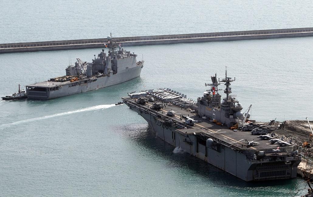 epa.16.03.07. - Busan, Dél-Korea: Amerikai-dél-koreai közös hadgyakorlat - Az amerikai haditengerészet anyahajói (Bonhomme Richard kétéltű romboló), és az Ashland - 7képei