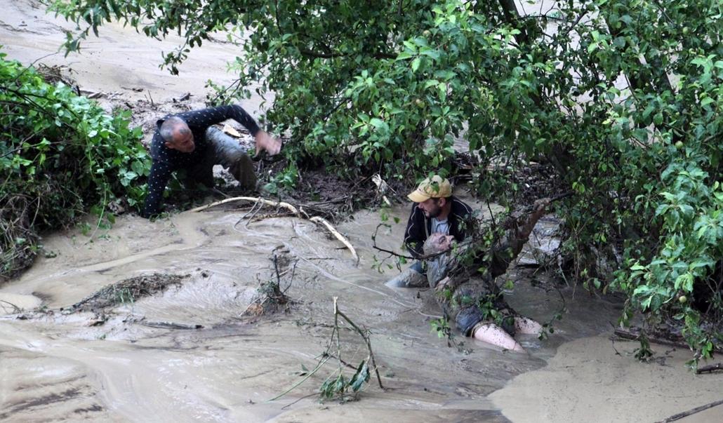 AP! a hét képei 0616-0621 - Árvíz Bulgáriában, Várna, 2014. június 20. Egy bokor ágába kapaszkodó embernek próbálnak segíteni férfiak egy sártengerré változott úton a fekete-tengeri Várnában, amely a heves esőzés következtében víz alá került 2014. június