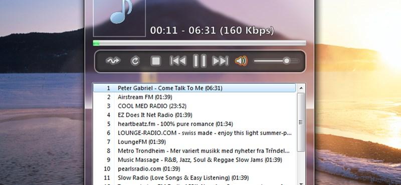 Remek hordozható MP3 lejátszó alkalmazás, Aero stílusban