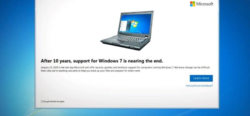 Ha Windows 7 fut a gépén, tudjon róla: nincs mese, jön a likvidálós figyelmeztetés