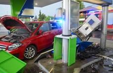 Fotók: Egy autós letarolta a benzinkutat Martonvásárnál