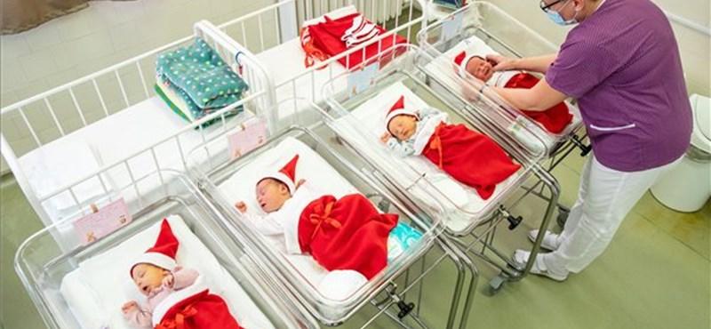 Mikulás ruhába öltöztették az orosházi kórház újszülöttjeit