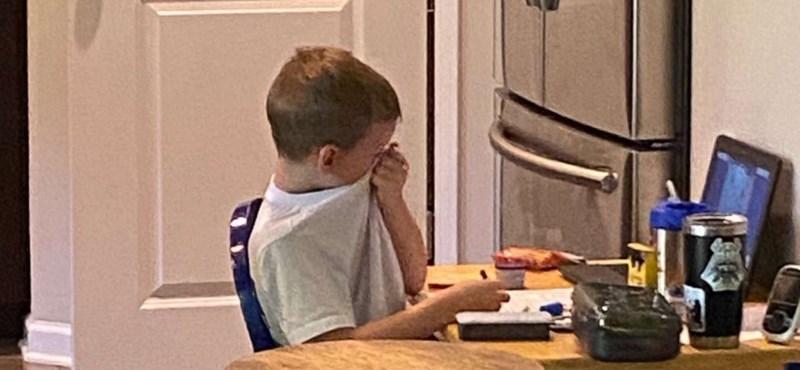 Letarolta az internetet a fotó az első napján síró amerikai óvodásról