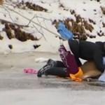 """Kimentették """"Bambit"""" a jég fogságából - videó"""